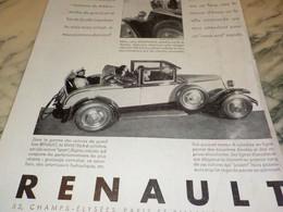 ANCIENNE PUBLICITE AUTOMOBILE RENAULT  1930 - Cars