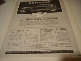ANCIENNE PUBLICITE VOITURE LES STELLA  RENAULT 1932 - Cars