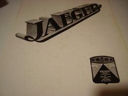 ANCIENNE PUBLICITE  JAEGER HORLOGERIE DE LUXE 1932 - Jewels & Clocks