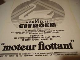 ANCIENNE PUBLICITE  CITROEN  MOTEUR FLOTTANT) 1932 - Cars