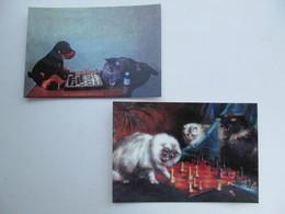 Cats Playing Chess 2 PCs - Schach  - Ajedrez - Echecs - Echecs