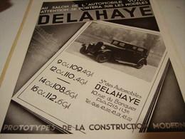 ANCIENNE PUBLICITE  SALON DE L AUTOMOBILE  POUR DELAHAYE 1932 - Cars