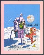 Nct104 WALT DISNEY MICKEY GOOFY OP DE MAAN RUIMTEVAART SPACE ASTRONAUTS SAINT LUCIA 1980 PF/MNH - Disney