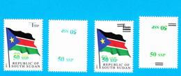 SOUTH SUDAN Surcharge Overprint Printing Trials Of The 50 SSP OP On 1 SSP Flag Stamp Südsudan Soudan Du Sud OP110 111 - Zuid-Soedan