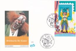 Germany FDC  1993 Clown - Für Die Kinder Souvenir Sheet (DD6-46) - [7] Federal Republic