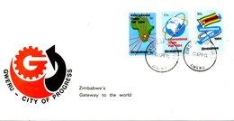 ZIMBABWE. N°60-2 De 1984 Sur Enveloppe 1er Jour. Foire Commerciale. - Zimbabwe (1980-...)