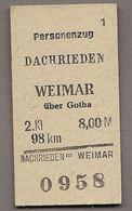BRD -  Pappfahrkarte (Deutsche Reichsbahn)  --> Dachrieden - Weimar - Bahn