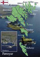 1 MAP Of Färöer * 1 Ansichtskarte Mit Der Landkarte Von Färöer Islands - Im Kleinen Bild Die Hauptstadt Torshavn * - Maps