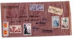 Lettre Recommandée 1953 Cachet Noisy Le Sec à Destination Bone Constantine N° 883 901 941 942 956 957 Marianne Gandon - Marcophilie (Lettres)