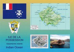 1 Map Of Possession Island  TAAF * Flagge, Landkarte, Wappen, Gedruckte Briefmarke Und Eine Ansicht Der Insel Possession - Maps