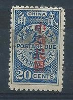 1912 CHINA - POSTAGE DUE 20c O/P IN RED REPUBLIC MINT H CHAN D30 $27#2 - Chine
