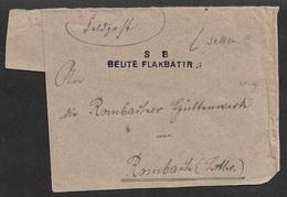 Dt. Besetzung II. WK Feldpostbrief - S B Beute Flakbattr. 1 - FPN 2243 Nach Rombach - Selten - Besetzungen 1938-45