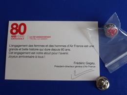 Pin's Air France 80 Ans - 80 Years - Avec Le Carton - Neuf Sous Sachet (Z1) - Airplanes