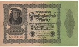 GERMANY  50'000 Mark  P79/R78    Dated 19.11.1922   XF - [ 3] 1918-1933 : Weimar Republic
