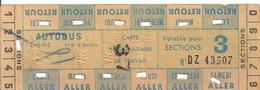 REGIE AUTONOME DES TRANSPORTS PARISIENS -CARTE HEBDOMADAIRE DE TRAVAIL-N° DZ43507-AUTOBUS-3 Sections - Abonnements Hebdomadaires & Mensuels
