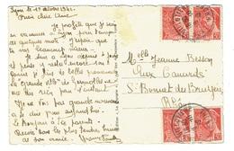 RHONE 69 LYON GUILLOTIERE 19/10/1942 CP Affr 4 X 30 C Mercure 412 TTB - Marcophilie (Lettres)