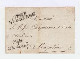 Sur Enveloppe Du Préfet Côte Du Nord En Cursives, Marque Postale P.2LE St Brieux. Cachet Préfecture. (834) - Marcophilie (Lettres)