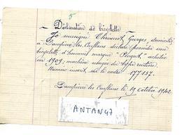 Déclaration De Bicyclette Peugeot En 1942 / Thevenot Georges 70 Dampierre Les Conflans / Papier Libre - Documents