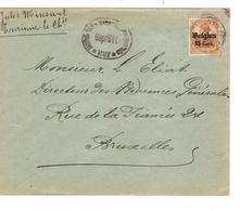 JS552/ Guerre-Oorlog 14-18 S/L.écrite De Tourinne La Chaussée C.Les Waleffes 1917 Censure De Huy V.BXL - [OC1/25] General Gov.