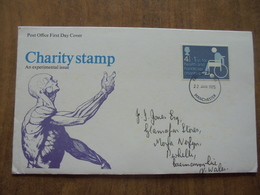 S058: FDC: CHARITY STAMP An Experimental Issue - 4.5P + 1.5P FOR HEALTH AND HANDICAP CHARITIES 22 JAN 1975.Manchester. - FDC