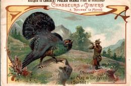 CHROMO  CHOCOLAT POULAIN ORANGE CHASSEURS & GIBIERS A TRAVERS LE MONDE COQ DE BRUYERE  SUISSE - Trade Cards