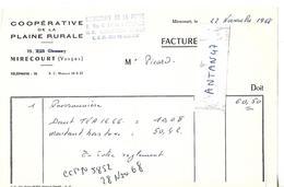 Facture 1/2 Format 1968 / 88 MIRECOURT / Coopérative De La Plaine Rurale - France