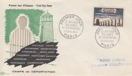 Enveloppe  FDC  1er  Jour   FRANCE   Le  Souvenir  Des  Camps  De  Déportation   PARIS   1955 - FDC