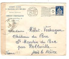 JS553/ Guerre-Oorlog 14-18 TP Helvetia S/L.Comité Suisse Le Secours Aux Belges C.Genève Censures V.France Pas Courant - Other Covers