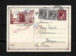 """1935 Luxembourg → Uprated 40 C Brown """"Tourist Series"""" PS Postcard To Germany - Entiers Postaux"""