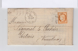 Sur Lettre Type Céres 40 C. Orange Oblitération étoile CAD Paris Place De La Bourse 1874. Vers Pertuis. (841)841 - Marcophilie (Lettres)