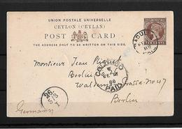 1888 Cwylon → 10 C Brown PS Postcard Badulla Cover To Berlin, Germany - Sri Lanka (Ceylan) (1948-...)