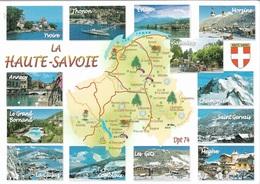 Cartes Géographiques - 74 Haute-Savoie -13 Vues - 1 Timbre Philatélique Au Verso, Voir Scan - Cpm - écrite - - Maps