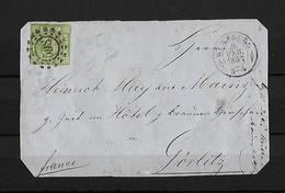 ALTDEUTSCHLAND BAYERN 1857 → 9 Kr Yellow Green Type II Imperf Wurzburg Cover To Gorlitz - Bavaria