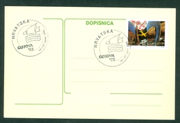Croatia 1992 Italy Genova Promotion Commemorative Cancel Of C. Post (#1) On Exhibition Abroad Letter Cover Stationery - Croatia