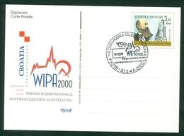 Croatia 2000 FDC Austria Vienna WIPA Promotion Commemorative Cancel Of C. Post (#17) Abroad Letter Cover Stationery - Croatia