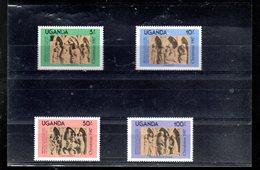 OUGANDA 482/485** SUR DES BAS RELIEFS FRANCAIS POUR NOEL 1987 - Ouganda (1962-...)