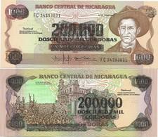 Nicaragua 200.000 Cordobas On 1000 1990. UNC P-162 - Nicaragua