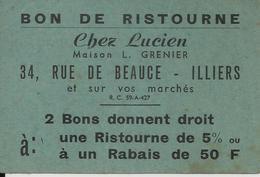 ILLIERS CHEZ LUCIEN BON DE RISTOURNE MAISON L GRENIER 34 RUE DE BEAUCE ET SUR VOS MARCHE PUB LA GERBE BAS SOCQUETTES - France