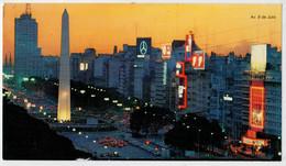 MAXICARD  10X17,8   BUENOS  AIRES    AV. 9  DE  JULIO.   OBELISCO          (SCRITTA) - Argentina