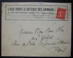 Ligue Pour La Défense Des Animaux 23 Rue Des Martyrs Paris 1929, Lettre à En Tête - Marcophilie (Lettres)