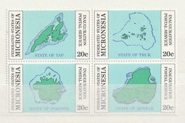 Micronesia 1984 Inauguration Of Postal Independence - Maps 4v Block - Micronesia