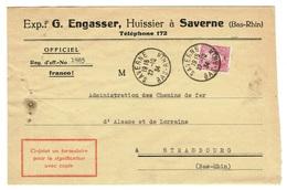 BAS RHIN SAVERNES Formulaire De Signification Affranchi Avec 1,25 F Victor Hugo 293 Tarif Rare Avec Ce Timbre TTB - Postmark Collection (Covers)