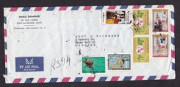 Haiti: Airmail Cover To Germany, 7 Stamps, Youth, Painting, UPU, ITU, Overprint UNESCO, Rare Real Use! (minor Creases) - Haïti