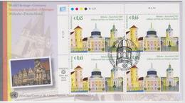 United Nations Vienna FDC Mi 597 World Heritage Sites - Germany - Palaces And Parks Of Potsdam & Berlin 2009 4-Block - FDC