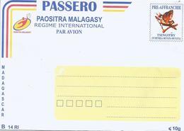 Madagascar Bird Entier Ganzsache B14 RI International Postal Stationary Cover - Madagaskar (1960-...)
