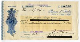ASSEGNO BANCA D'ITALIA FILIALE DI ADDIS ABEBA ETIOPIA ANNO 1938 FRANBOLLO COLONIE ITALIANE CENT. 5 ERITREA - Assegni & Assegni Di Viaggio