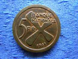 CONGO KATANGA 5 FRANCS 1961, KM2 - Congo (Republic 1960)