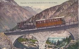 74 CHAMONIX MONT BLANC TRAIN A CREMAILLERE SUR LE VIADUC DU MONTENVERS GLACIER DE LA MER DE GLACE CARTE COLORISEE - Chamonix-Mont-Blanc