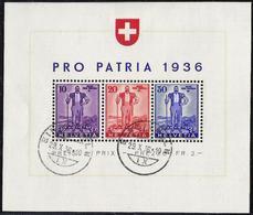 Schweiz Suisse 1936: Wehranleihe Senn Von Hodler Zu WIII 8 Mi Block 2 Yv BF 2 O EINSIEDELN 29.X.36 (Zumstein CHF 280.00) - Pro Patria