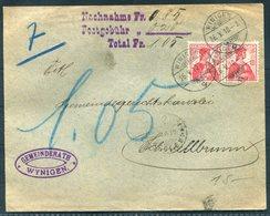 1910 Switzerland Gemeinderath Wynigen Cover - Schwellbraun Via Herisau. Nachnahme Postgobuhr - Switzerland